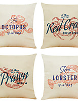 cheap -Set of 4 Personalized Seafood Linen Square Decorative Throw Pillow Cases Sofa Cushion Covers 18x18