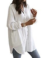 cheap -Women's Shirt Dress Short Mini Dress - Long Sleeve Solid Color Patchwork Summer 1920s 2020 White Blue Brown S M L XL