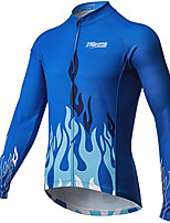 cheap -21Grams Men's Long Sleeve Cycling Jacket Winter Blue Bike Jacket Mountain Bike MTB Road Bike Cycling Breathable Warm Sports Clothing Apparel / Stretchy