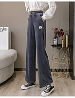 cheap -Women's Basic Outdoor Loose Daily Casual Wide Leg Pants Pants Solid Colored Full Length Drawstring High Waist Black Purple Blushing Pink