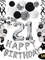 cheap -21st birthday decorations,21st happy birthday decorations balloons party supplies,21 birthday balloons banners confetti hanging swirls paper pompoms cake topper,for her women girls man