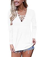 cheap -women's casual long sleeve t-shirt criss cross v-neck basic tees tops (m, white)