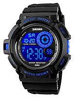 cheap -7 colors changeable digital watch men waterproof soft pu band led backlight outdoor sports wristwatch (blue)