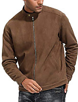 cheap -men's softshell jacket lightweight faux suede zipper jacket coffee size xl