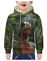 cheap -Kids Boys' Active 3D Animal Print Long Sleeve Hoodie & Sweatshirt Green