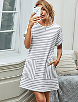 cheap -Women's Shift Dress Short Mini Dress - Short Sleeve Striped Print Summer Casual Slim 2020 White S M L XL