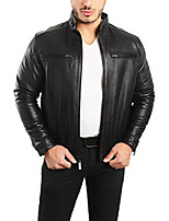 cheap -est. 1950 men's jacket genuine lambskin leather stand up collar winners coat (3xl, black)