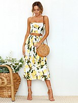 cheap -Women's Floral Two Piece Set Crop Skirt Backless Tops