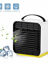 cheap -portable air conditioner cooler fan, personal space air cooler, humidifier, purifier 3 in 1 evaporative cooler, oneisall usb rechargeable mini cooling desktop fan with led light, 3 speeds (blue)