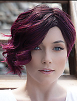 cheap -Synthetic Wig Curly Asymmetrical Wig Short Grey Burgundy Synthetic Hair Women's Fashionable Design Ombre Hair Exquisite Burgundy