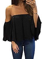 cheap -women& #39;s summer off shoulder blouses short sleeves sexy tops chiffon ruffles casual t shirt & #40;m,short sleeve lace up black& #41;