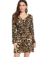 cheap -Women's A-Line Dress Short Mini Dress - Long Sleeve Leopard Lace up Patchwork Print Fall Casual 2020 Brown S M L XL