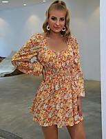 cheap -Women's A-Line Dress Short Mini Dress - Long Sleeve Print Print Fall Casual 2020 Orange S M L