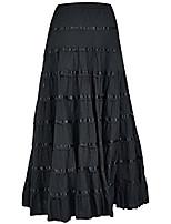 cheap -women cotton long skirt 9 panel full circle skirt maxi summer clothing black