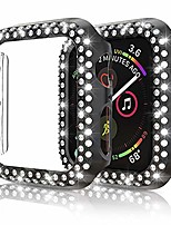 cheap -protector case compatible with apple watch series 5 series 4 40mm cover, double row bling crystal diamonds protective cover pc plated bumper frame accessories (black, 40mm)