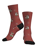 cheap -Crew Socks Compression Socks Calf Socks Athletic Sports Socks Cycling Socks Men's Women's Bike / Cycling Breathable Soft Comfortable 1 Pair Santa Claus Cotton Red S M L / Stretchy
