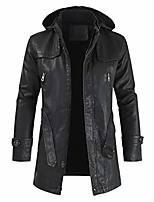 cheap -but& #39;s casual zip up mid-long camouflage faux leather jacket distressed hooded trench coat & #40;black,4xl& #41;