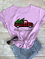 cheap -Women's Christmas T-shirt Graphic Prints Letter Print Round Neck Tops 100% Cotton Basic Christmas Basic Top White Purple Red