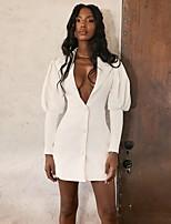 cheap -Women's Shift Dress Short Mini Dress - Long Sleeve Solid Color Fall V Neck Sexy Lantern Sleeve 2020 White S M L