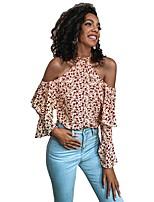 cheap -Women's Blouse Shirt Floral Flower Long Sleeve Ruffle Print Halter Neck Tops Basic Basic Top Blushing Pink