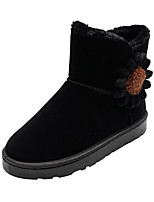cheap -Women's Boots Snow Boots Flat Heel Round Toe Booties Ankle Boots Casual Daily Walking Shoes Suede Flower Solid Colored Light Brown Black Coffee / Booties / Ankle Boots / Booties / Ankle Boots