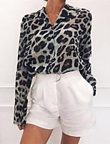 cheap -Women's Shirt Polka Dot Long Sleeve Patchwork Print Shirt Collar Tops Basic Basic Top White Yellow Khaki