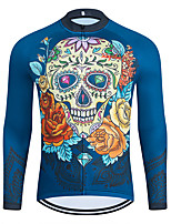 cheap -WECYCLE Men's Women's Long Sleeve Cycling Jersey Winter Polyester Blue Skull Floral Botanical Bike Jersey Top Mountain Bike MTB Road Bike Cycling Breathable Quick Dry Reflective Strips Sports