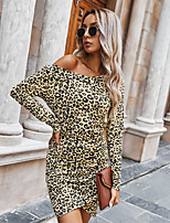 cheap -Women's Wrap Dress Short Mini Dress - Long Sleeve Leopard Patchwork Print Fall Sexy Going out Slim 2020 Green Brown Beige Gray S M L XL