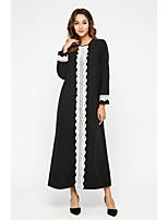 cheap -Women's Swing Dress Maxi long Dress - Long Sleeve Solid Color Lace Patchwork Fall Casual Elegant 2020 Black M L XL XXL