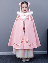 cheap -Princess Cosplay Costume Masquerade Girls' Movie Cosplay Vacation Red / Pink Cloak Halloween Children's Day Masquerade Cotton