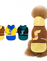 cheap -Dog Coat Hooded Shirts Tracksuit Cartoon Thick Velvet Casual / Daily Dog Clothes Puppy Clothes Dog Outfits Warm Yellow Blue Green Costume for Girl and Boy Dog Fleece S M L XL XXL