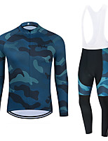 cheap -WECYCLE Men's Women's Long Sleeve Cycling Jersey Cycling Tights Winter Black Blue Black / White Camo / Camouflage Bike Breathable Quick Dry Sports Camo / Camouflage Mountain Bike MTB Road Bike Cycling