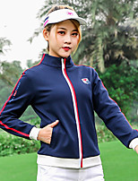 cheap -Women's Golf Jacket Long Sleeve Breathable Quick Dry Soft Sports Outdoor Autumn / Fall Spring Winter Cotton Solid Color White Red Dark Navy / Stretchy