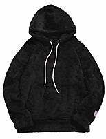 cheap -mens solid winter fluffy hoodie oversized hooded pullover sweatshirt outwear with kangaroo pocket black m