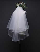 cheap -two-tier classic / basic wedding veil fingertip veils with solid 33.46 in (85cm) tulle