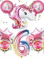 """cheap -unicorn balloons birthday party decorations for girls 6th party, 43"""" pink large unicorn gradient jumbo number""""6"""" foil balloon bouquet, girly unicorn theme party supplies backdrop decor"""