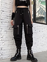 cheap -Women's Sporty Outdoor Cotton Loose Daily Pants Tactical Cargo Pants Solid Colored Full Length High Waist Black