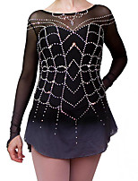 cheap -Figure Skating Dress Women's Girls' Ice Skating Dress Black Spandex High Elasticity Training Competition Skating Wear Handmade Crystal / Rhinestone Gradient Color Long Sleeve Ice Skating Winter