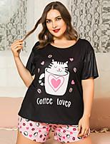 cheap -Women's Home Polyester Loungewear Cat XL Black