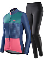 cheap -Nuckily Women's Long Sleeve Cycling Jersey with Tights Winter Blue+Pink Polka Dot Bike Warm Sports Polka Dot Road Bike Cycling Clothing Apparel / Stretchy / Athletic