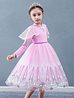 cheap -Princess Cosplay Costume Masquerade Girls' Movie Cosplay A-Line Slip Vacation Blue / Pink Dress Halloween Children's Day Masquerade Organza Cotton