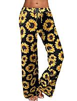 cheap -women's comfy stretch floral print high waist drawstring palazzo wide leg pants (xl, 024-sunflower-1)