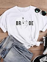 cheap -Women's Shirt Graphic Prints Letter Print Round Neck Tops Slim 100% Cotton Basic Basic Top White Black