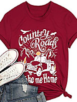 cheap -country roads take me home t-shirt women funny letters print truck graphic holiday shirt short sleeve country music top red
