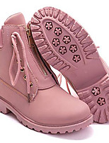 cheap -women& #39;s round toe waterproof ankle bootie lace up low heel work combat boots pink us size 6