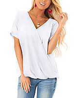 cheap -white t shirts for women v neck short sleeve wrap blouses tops m