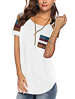 cheap -women's fashion white t shirts casual color block cotton tops junior basic tshirts l