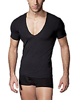 cheap -men's fitness workout tops base layer deep v-neck silm fit short sleeve t-shirt black s