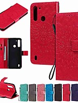 cheap -Case For Motorola MOTO E6S (2020) MOTO E6 plus MOTO G8PLAY Wallet Card Holder with Stand Full Body Cases Solid Colored Sun Flower PU Leather TPU for Moto G8 Power Lite Moto G Power Moto E7