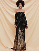 cheap -Sheath / Column Glittering Sexy Prom Formal Evening Dress Off Shoulder Long Sleeve Sweep / Brush Train Sequined with Sequin 2020